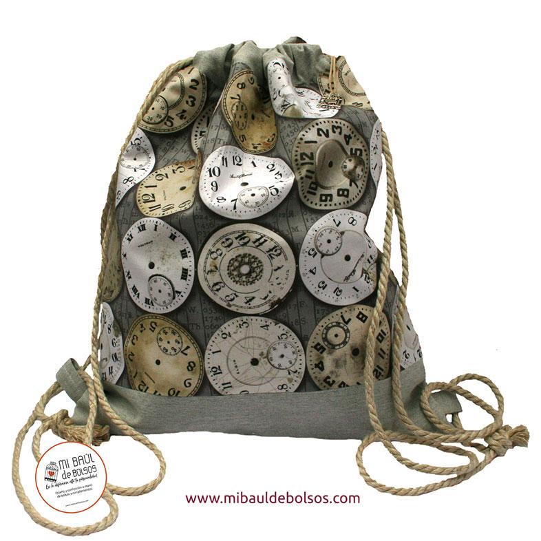 Mochila-Relojes-vintage-gris
