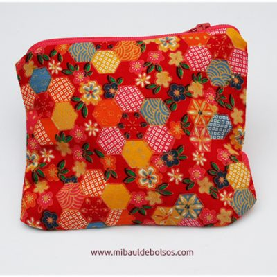Monedero tela japonesa roja